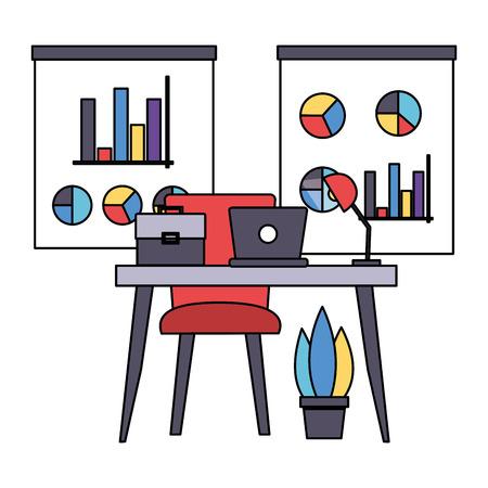 desk boards report laptop briefcase office workplace vector illustration
