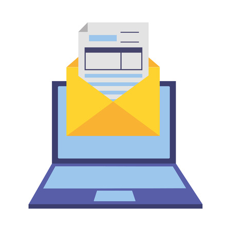 laptop mail report tax payment vector illustration