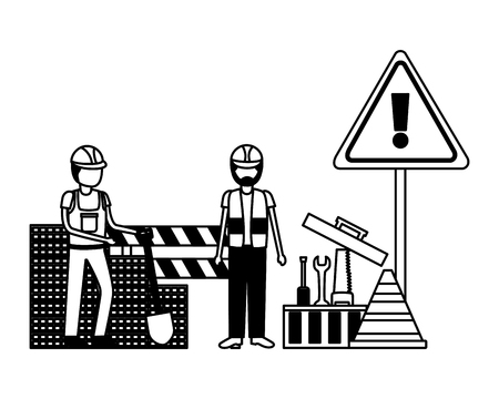 workers construction shovel toolbox tools bricks equipment vector illustration