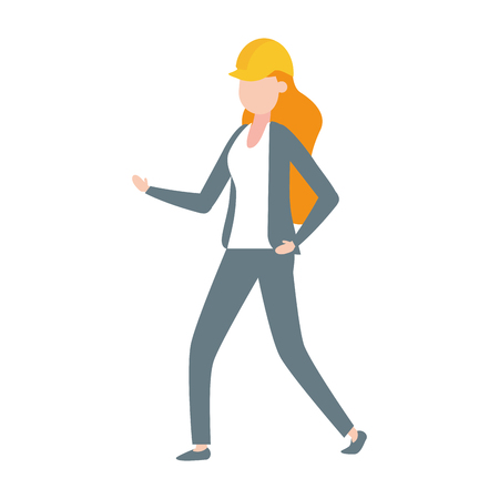 contractor woman worker character with hardhat vector illustration
