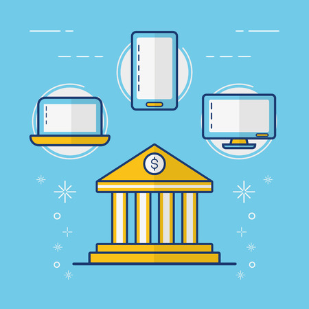 bank mobile laptop computer online payment vector illustration