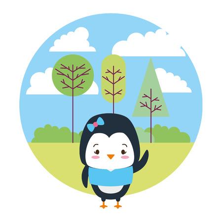 cute penguin cartoon landscape vector illustration design Illustration