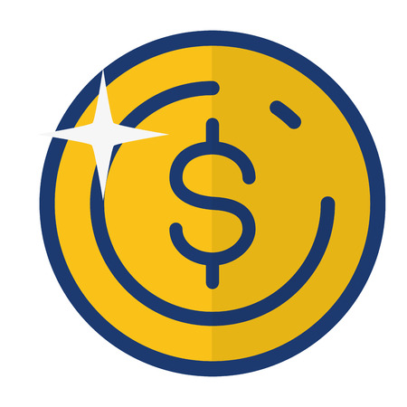 dollar coin money on white background vector illustration Ilustração