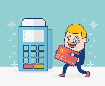 illustrazione vettoriale di banca online del terminale della carta di credito dell'uomo d'affari