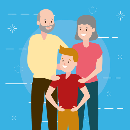 grandparents and grandson family vector illustration design Stock fotó - 122760307