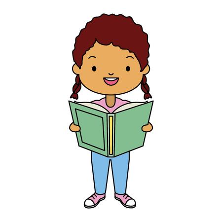 niña sosteniendo libro de texto - ilustración de vector de día mundial del libro