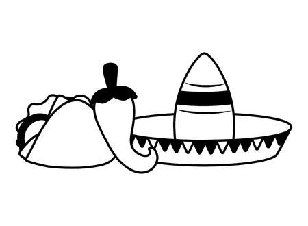 hat taco jalapeno mexico cinco de mayo vector illustration Archivio Fotografico - 121856325