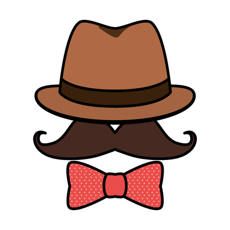 hipster hat mustache sunglasses vector illustration design Illustration