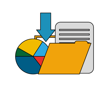 folder with document and statistic graphic vector illustration design Stock Illustratie