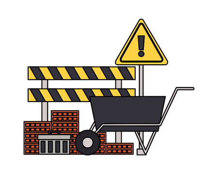 construction equipment wheelbarrow bricks barricade warning sign vector illustration Ilustração