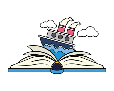 textbook boat in sea world book day vector illustration Ilustrace