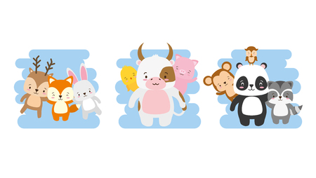 cute animals deer pig raccoon bull panda monkey vector illustration