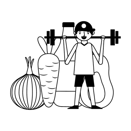 man and barbell fruit vegetable world health day vector illustration Foto de archivo - 122760407