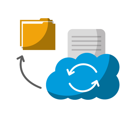 cloud computing with folder and document vector illustration design Imagens - 122760408
