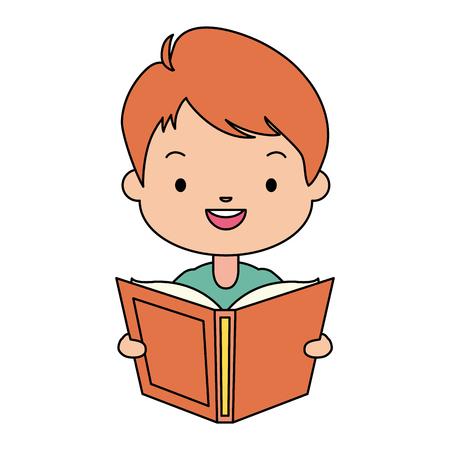 boy holding textbook - world book day vector illustration Standard-Bild - 122760411