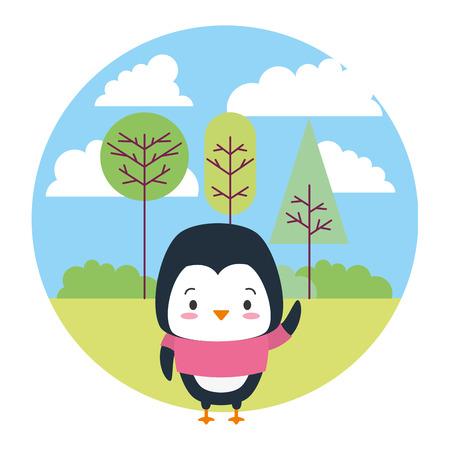cute penguin cartoon landscape vector illustration design Ilustração