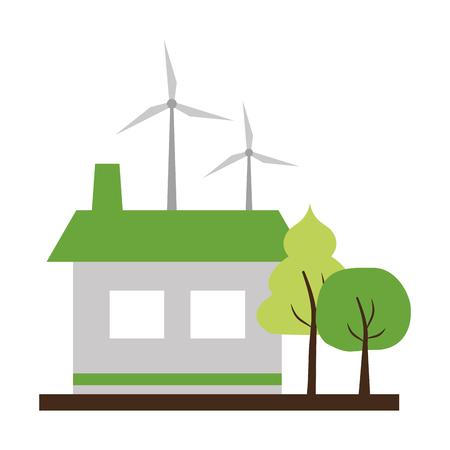 house wind turbines energy ecology vector illustration Archivio Fotografico - 122760420
