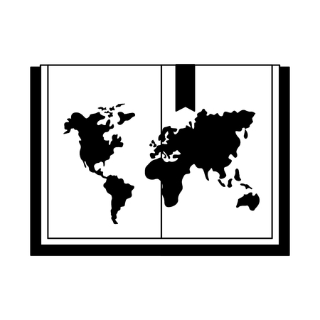 open book with map world book day vector illustration