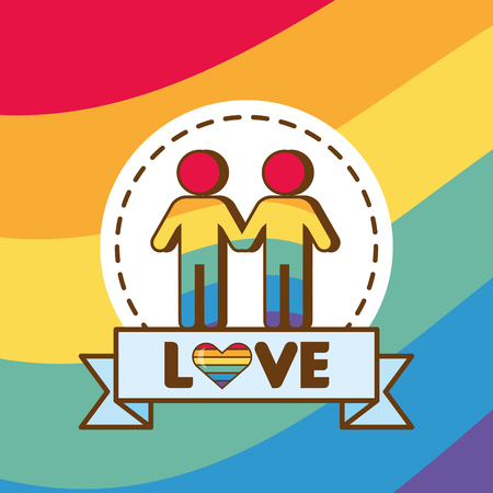 couple colors rainbow lgbt pride love vector illustration Stock Vector - 121863955