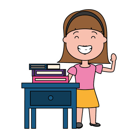 young woman with books on bedside table vector illustration design