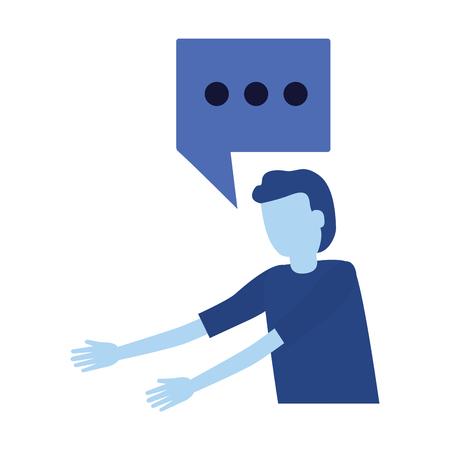man speech bubble character talk vector illustration