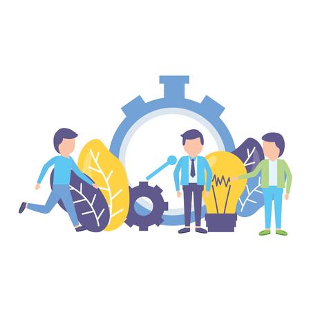 business people clock time creativity work vector illustration Illustration