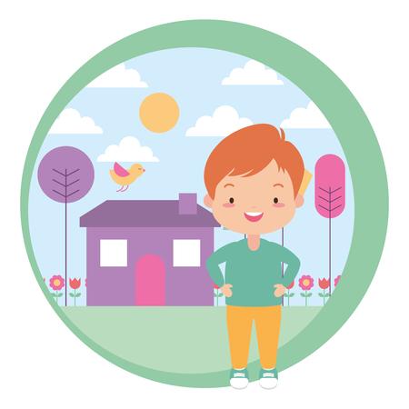 cute boy house garden tree nature vector illustration design