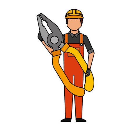 L'homme travailleur avec l'outil pinces vector illustration