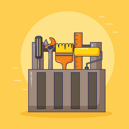 toolbox brush roller wrench construction happy labour day vector illustration 版權商用圖片 - 121855952