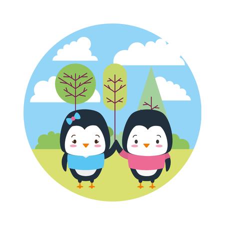cute couple penguin landscape cartoon vector illustration design