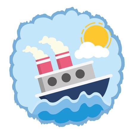 disegno dell'illustrazione di vettore del fumetto di trasporto marittimo della barca Vettoriali