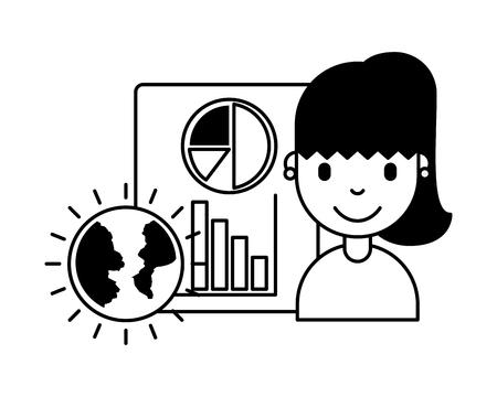 woman world document report business investment vector illustration Illustration