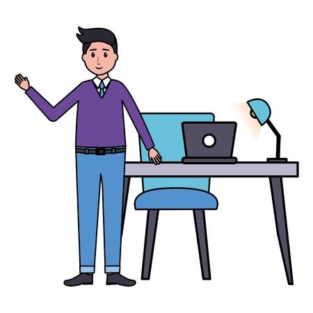 man desk laptop lamp office workplace vector illustration