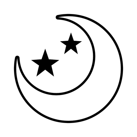 half moon and stars on white background vector illustration design