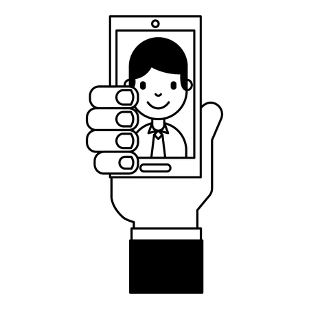 hand with mobile businessman online vector illustration