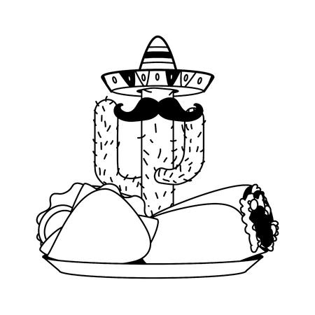 mexican cactus taco burrito cinco de mayo vector illustration Иллюстрация