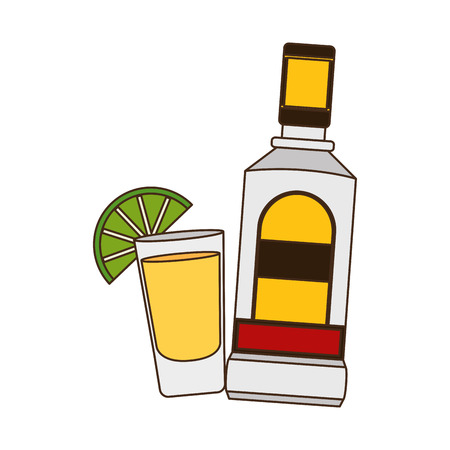 mexican bottle tequila shot lemon vector illustration