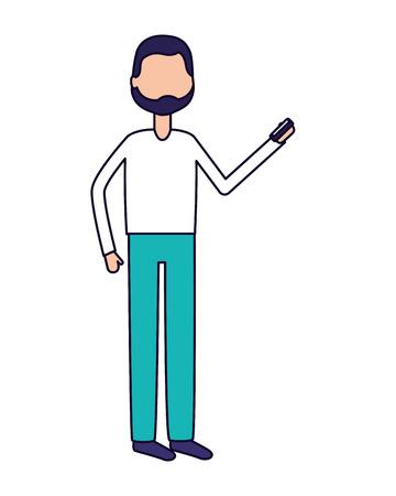 man using smartphone on white background vector illustration