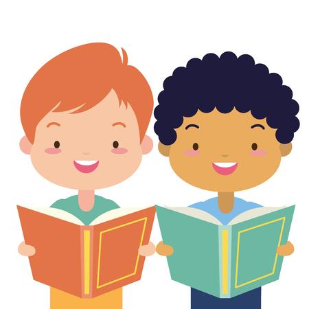 Junge und Mädchen mit Schulbuch-Weltbuchtag-Vektorillustration Vektorgrafik