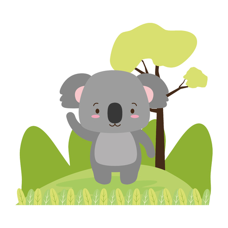 cute koala animal cartoon vector illustration design image