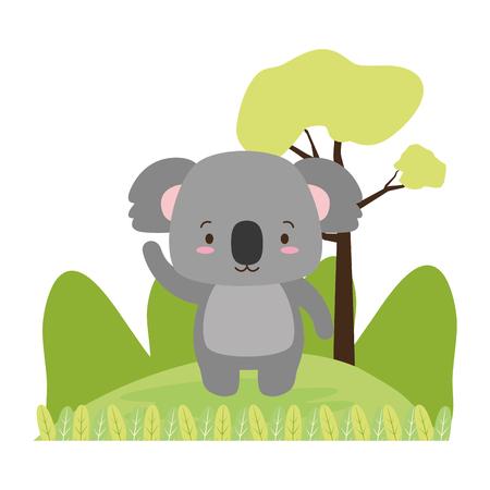 cute koala animal cartoon vector illustration design image
