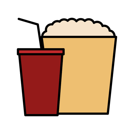 popcorn and soda isolated icon vector illustration design