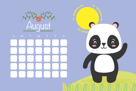 cute panda animal calendar cartoon vector illustration