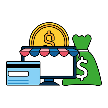 desktop computer with money icon vector illustration design 스톡 콘텐츠 - 122760682