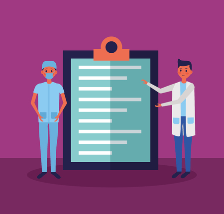 medical people staff with clipboard report vector illustration