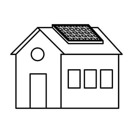 house with solar panel energy ecology vector illustration design Imagens - 122760758