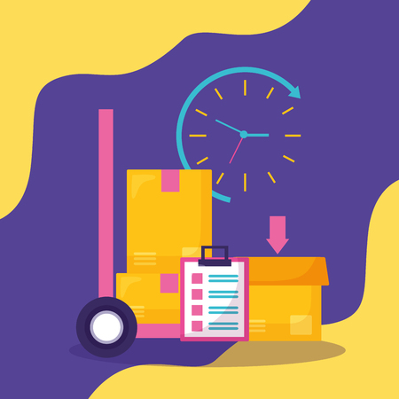 handcart clock box fast delivery business vector illustration Vectores
