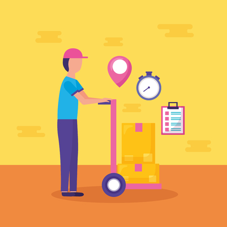 man with handcart boxes clock fast delivery vector illustration