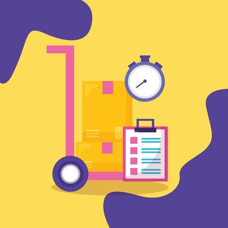 Charrette à bras boîtes en carton presse-papiers chronomètre livraison rapide business vector illustration