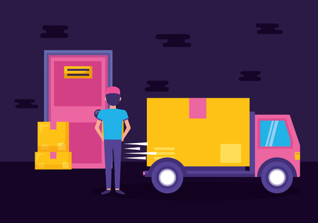 man and truck cargo boxes fast delivery vector illustration